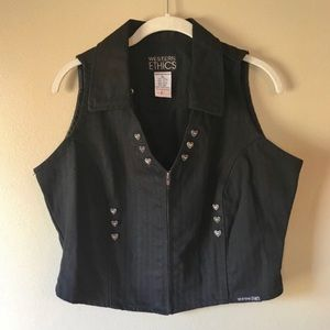 Vintage Black Denim Western Heart Studded Vest